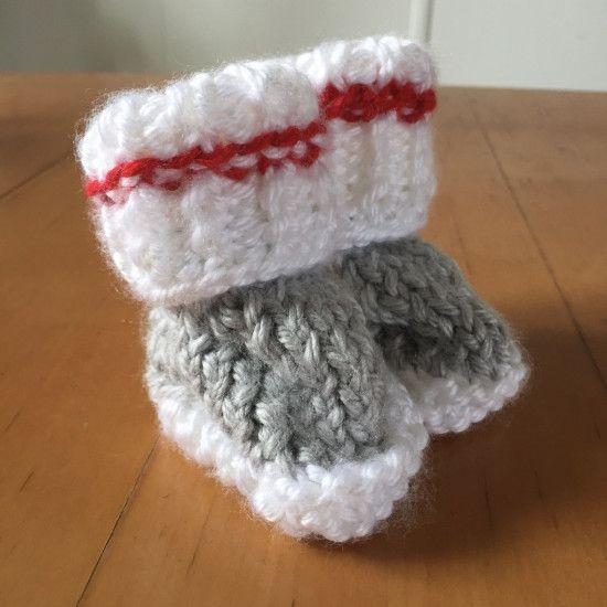 Chaussons bas de laine 0-3 mois à la broche Patron PDF de La Boîte ... 3ce2c888619