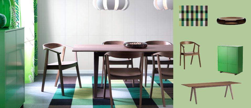 stockholm tisch mit st hlen f r 6 9 personen alles nussbaumfurnier und stockholm schrank gr n. Black Bedroom Furniture Sets. Home Design Ideas