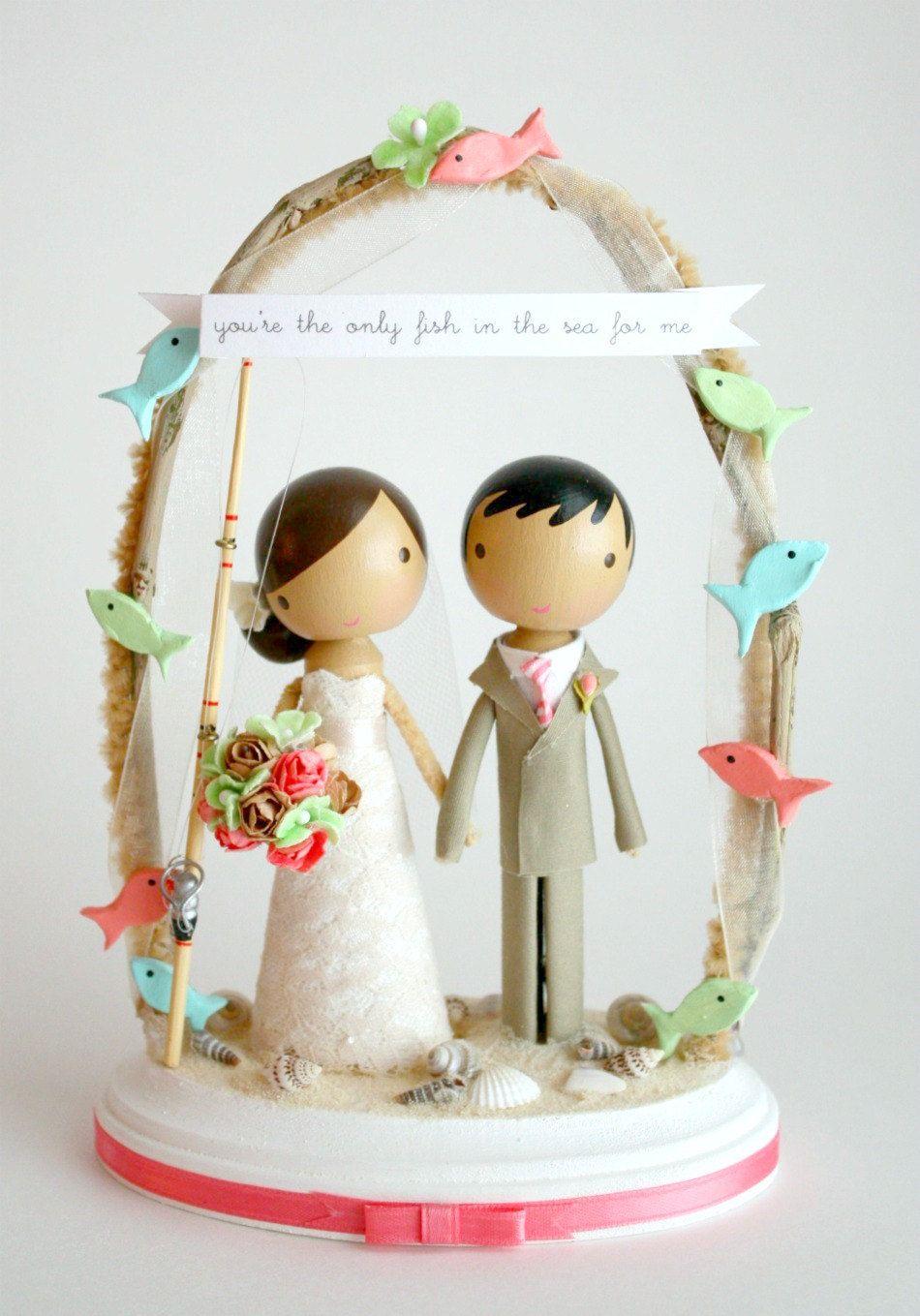 Custom Beach Wedding Cake Topper With Arch By Lollipopworkshop
