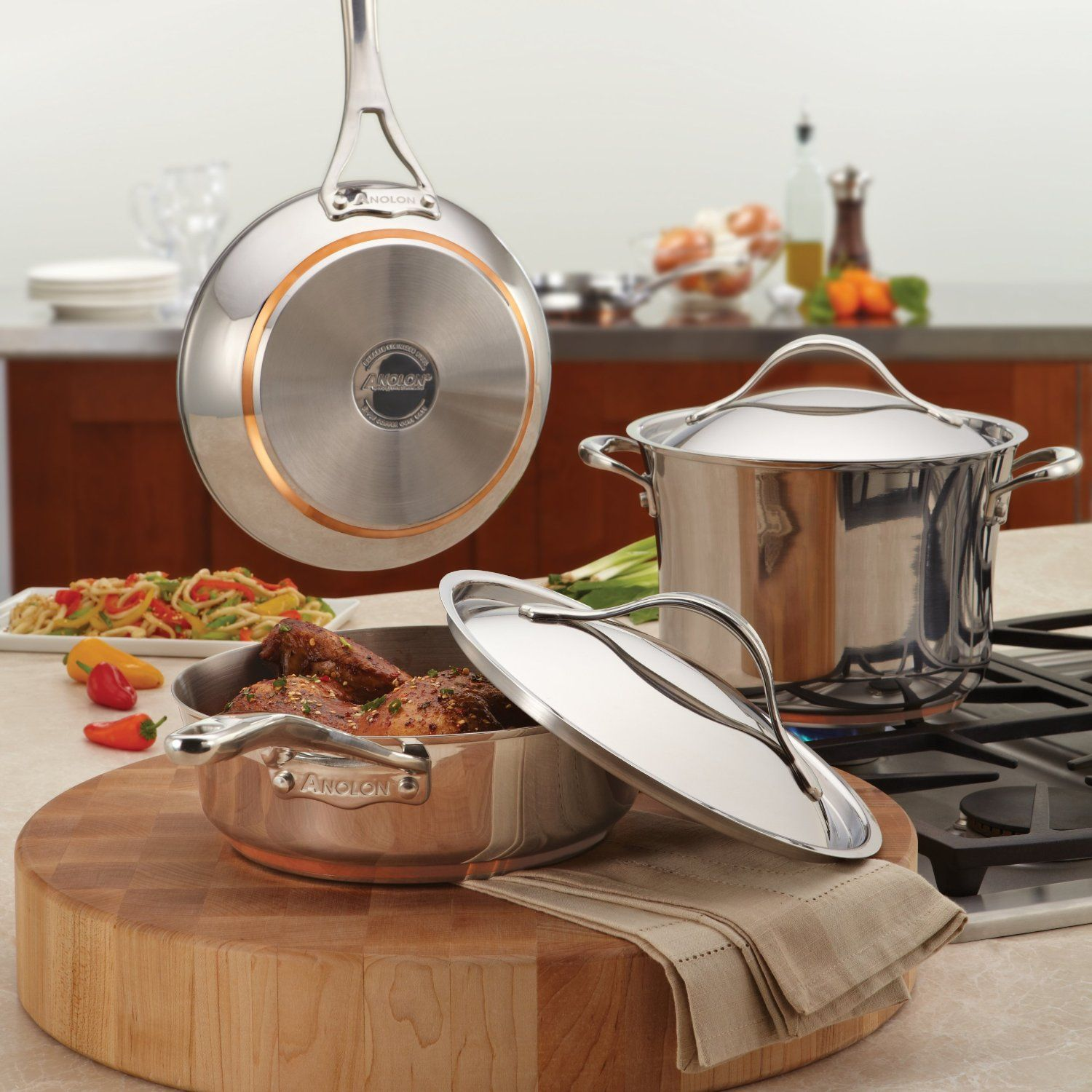Anolon nouvelle copper stainless steel 312quart covered