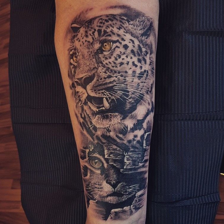 Big Cat Small Cat Leopard Tattoo Realistic Animal Tattoo Leopard Tattoos Big Cat Tattoo Big Cats