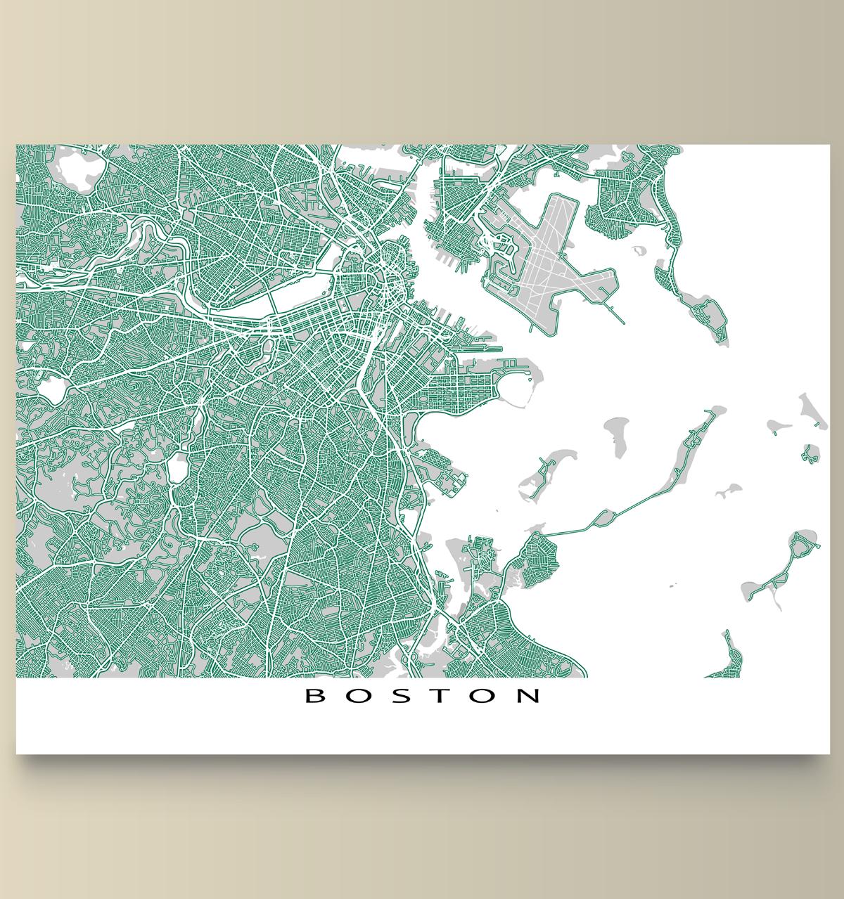 Boston Map Print Massachusetts USA Roads Massachusetts - Boston massachusetts us map