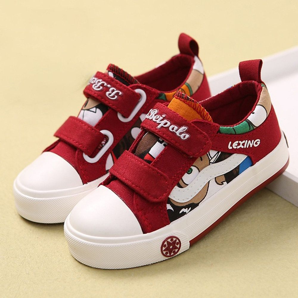 Us 22 92 Boys Color Match Cartoon Canvas Hook Loop Casual Shoes Kids Running Shoes Kids Shoes Casual Shoes