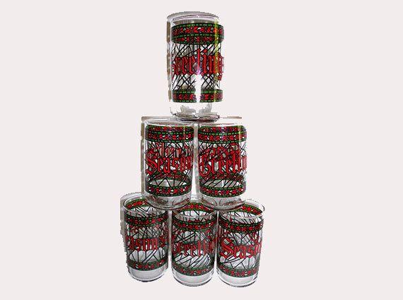 6 vintage drinking glasses christmas seasons greetings for Houze design