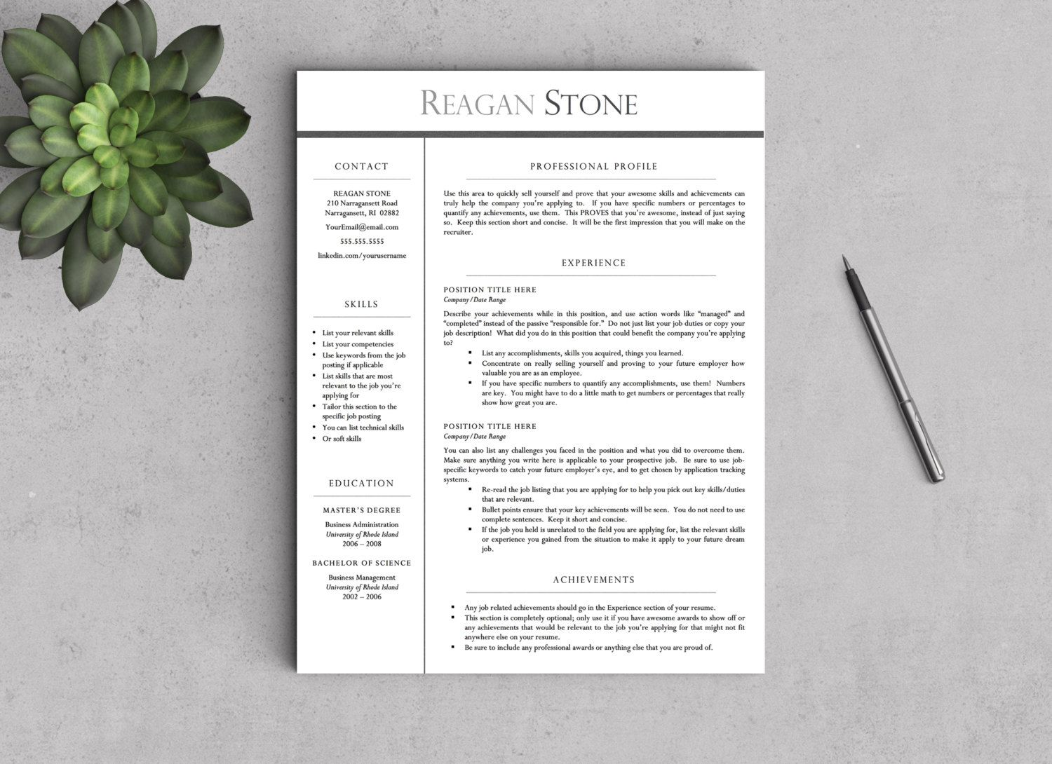 Executive resume template for word pages one two and
