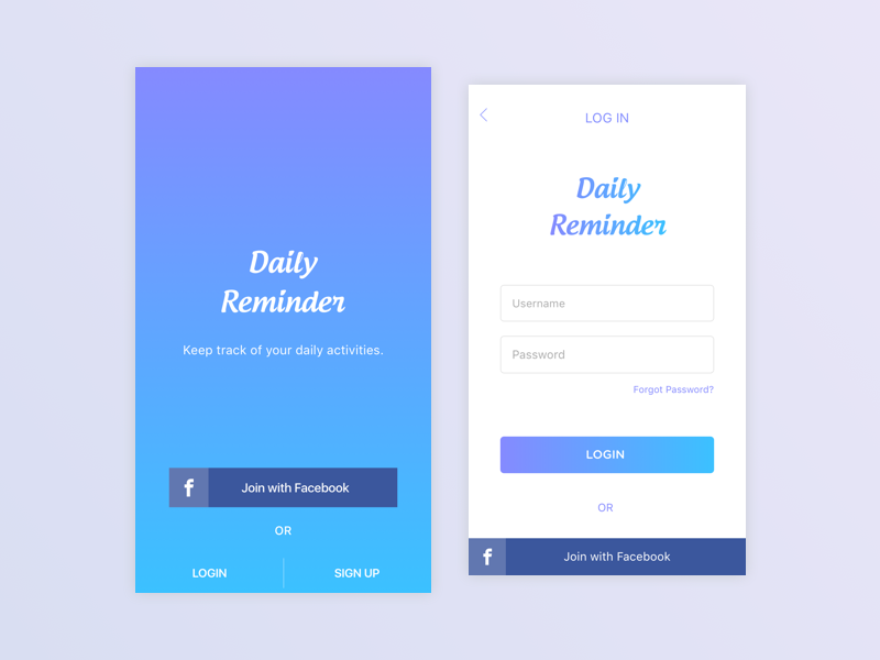 screens of Reminder App App, Reminder, App