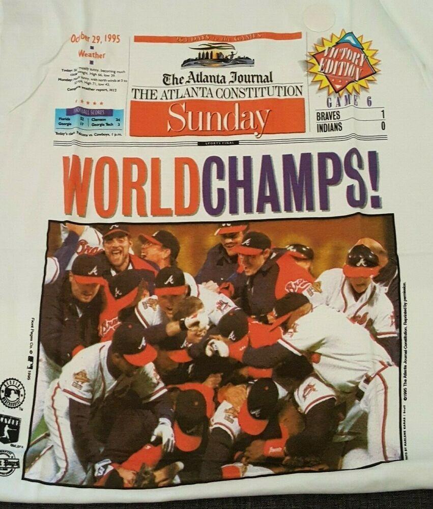 Atlanta Constitution Tshirt Braves 1995 World Series Large Fruitoftheloom Atlantabraves 1995 World Series Braves Atlanta