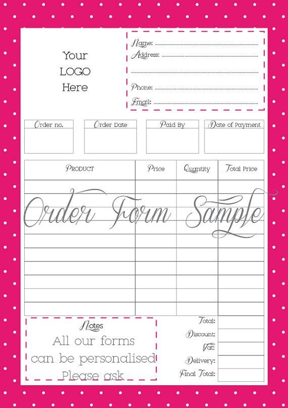 Order Form Printable order form Work at Home PDF FILE EMBROIDERY - purchase order templete