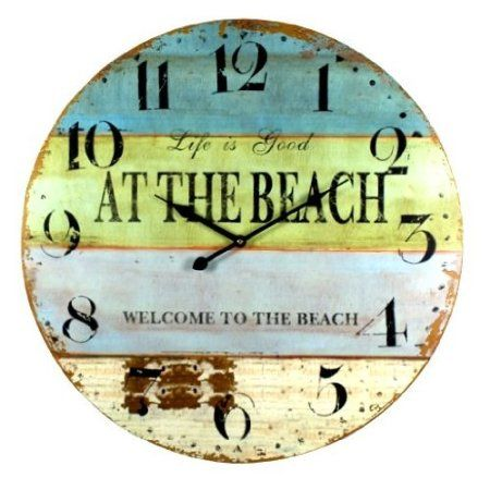 Amazon.com: Life Is Good At The Beach Coastal Decor Extra Large Wall Clock
