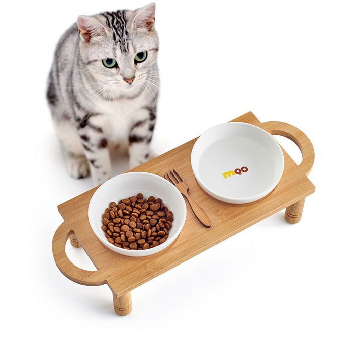 Cat Bowl Double Bowl Ceramic Pet Bowl Protects Cervical