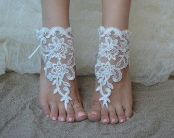 Champagne at beach wedding french lace sandals by UnionTouch