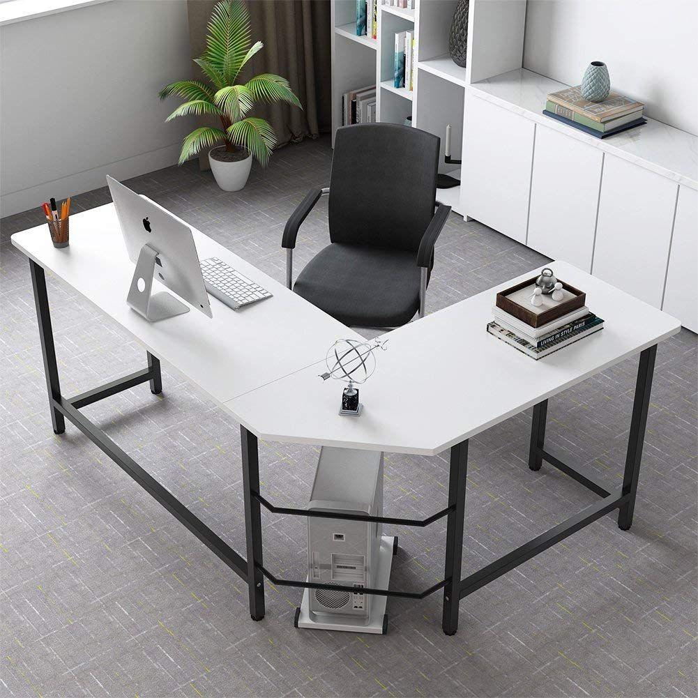 Modern L Shaped Desk White Black Leg Modern L Shaped Desk