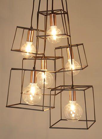 Aspecto industrial al poner solo el esqueleto de la luminaria home iluminaci n luces y - Lampara arana moderna ...