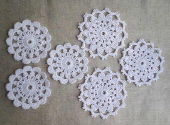 Irish lace Irish crochet motifs white cotton flower motifs | Etsy