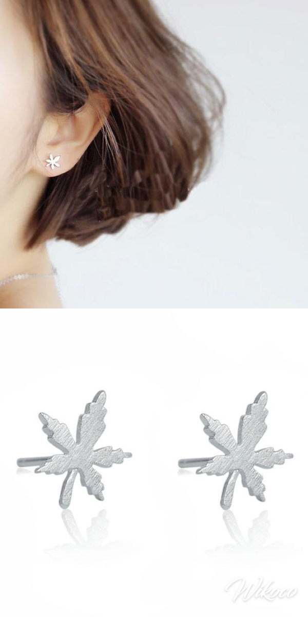 Cute Quaint Girl's Simple Maple Leaf Brushed Silver Mini Retro Earring Studs #Quaint #Maple #Leaf #Brushed #Silver #Earring #Studs