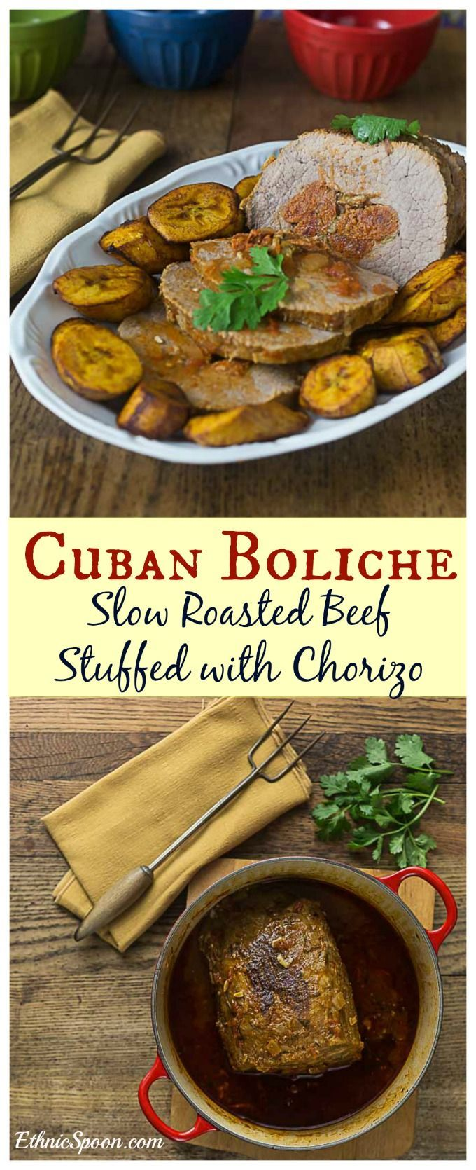 How to make Cuban boliche: A marinated roasted beef stuffed with chorizo and olives then show roasted. A great recipe for the slow cooker.   ethnicspoon.com