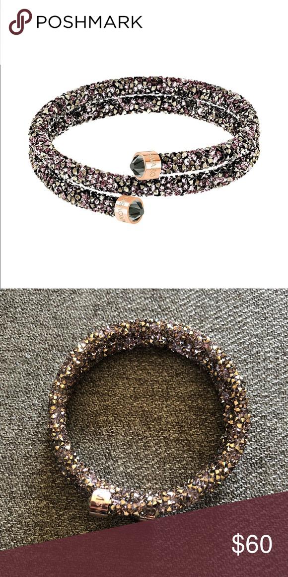 Swarovski crystaldust rose gold/brown bangle | Swarovski jewelry ...