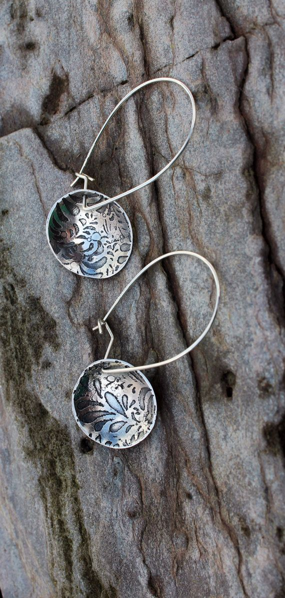 Etched springtime sterling silver earrings on Etsy, $62.78
