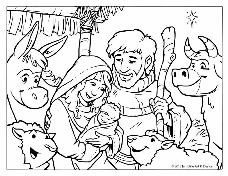 Free Christmas Coloring Page - Nativity Scene by Ian Dale - copy coloring pages of joseph and the angel