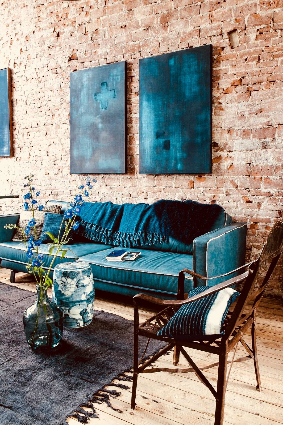 Living Room Home Decor House Decoration Mid Century Modern Teal Sofa Artwork Exposed Brick Blue Living Room Decor Wall Decor Living Room Home Decor #teal #sofa #living #room