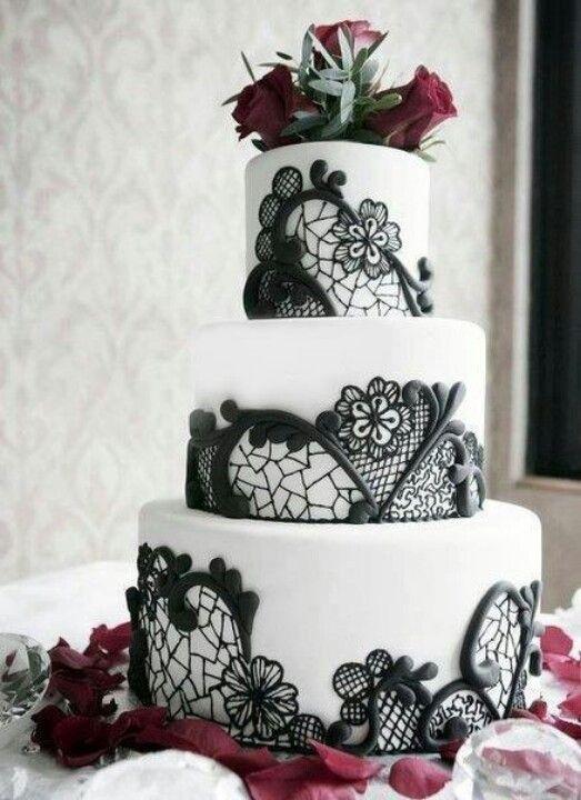 Black Lace Wedding Cake Future Plans Pinterest Wedding