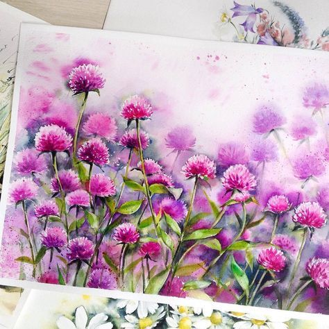 Watercolor clover blossoms @ihappygirl