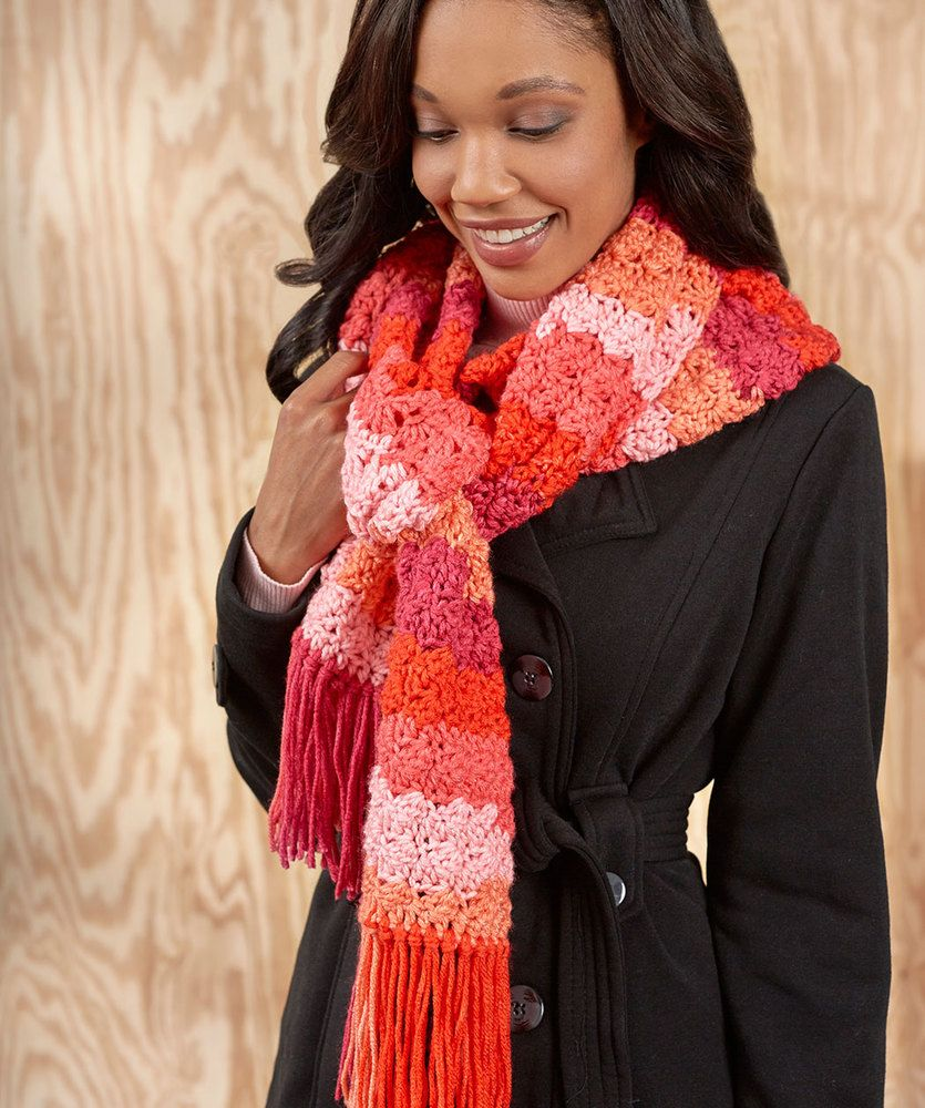 Snazzy Striped Scarf | Red Heart | Crochet | Pinterest