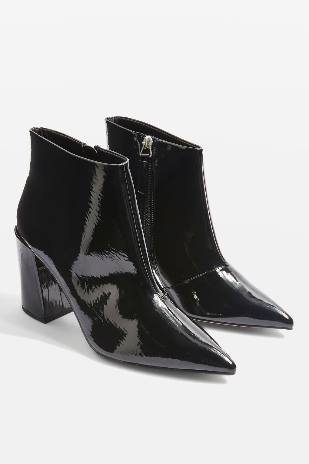 Women's Topshop Black Leather ankle boots with zips size UK 4 Euro 37
