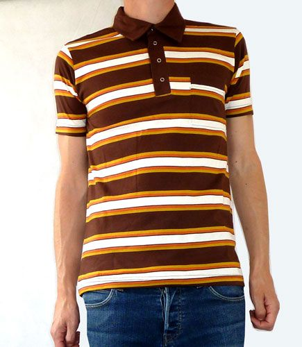 brown striped polo shirt
