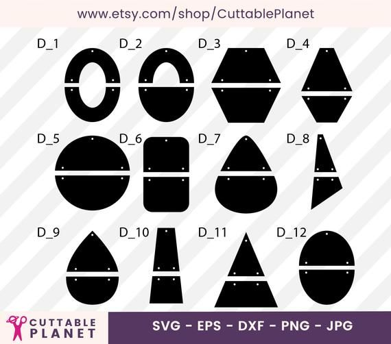 Compound hanging two parts template earrings svg, dxf, eps, png, jpg