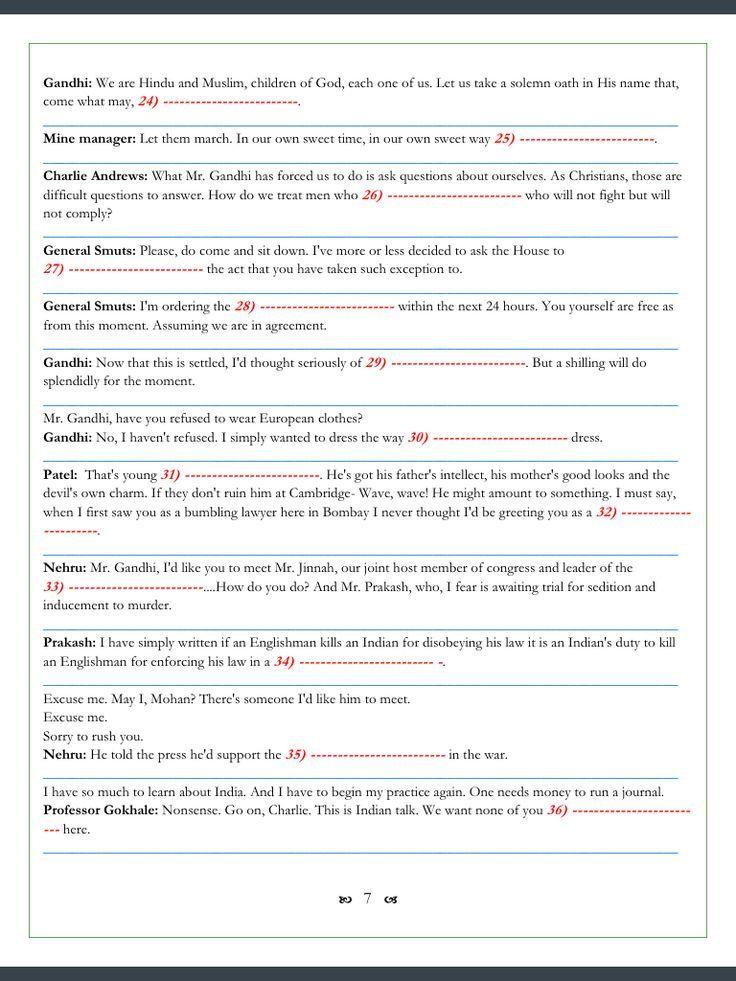 Gandhi Movie Worksheets -- 123 Cloze/Fill-in Problems | Worksheets ...