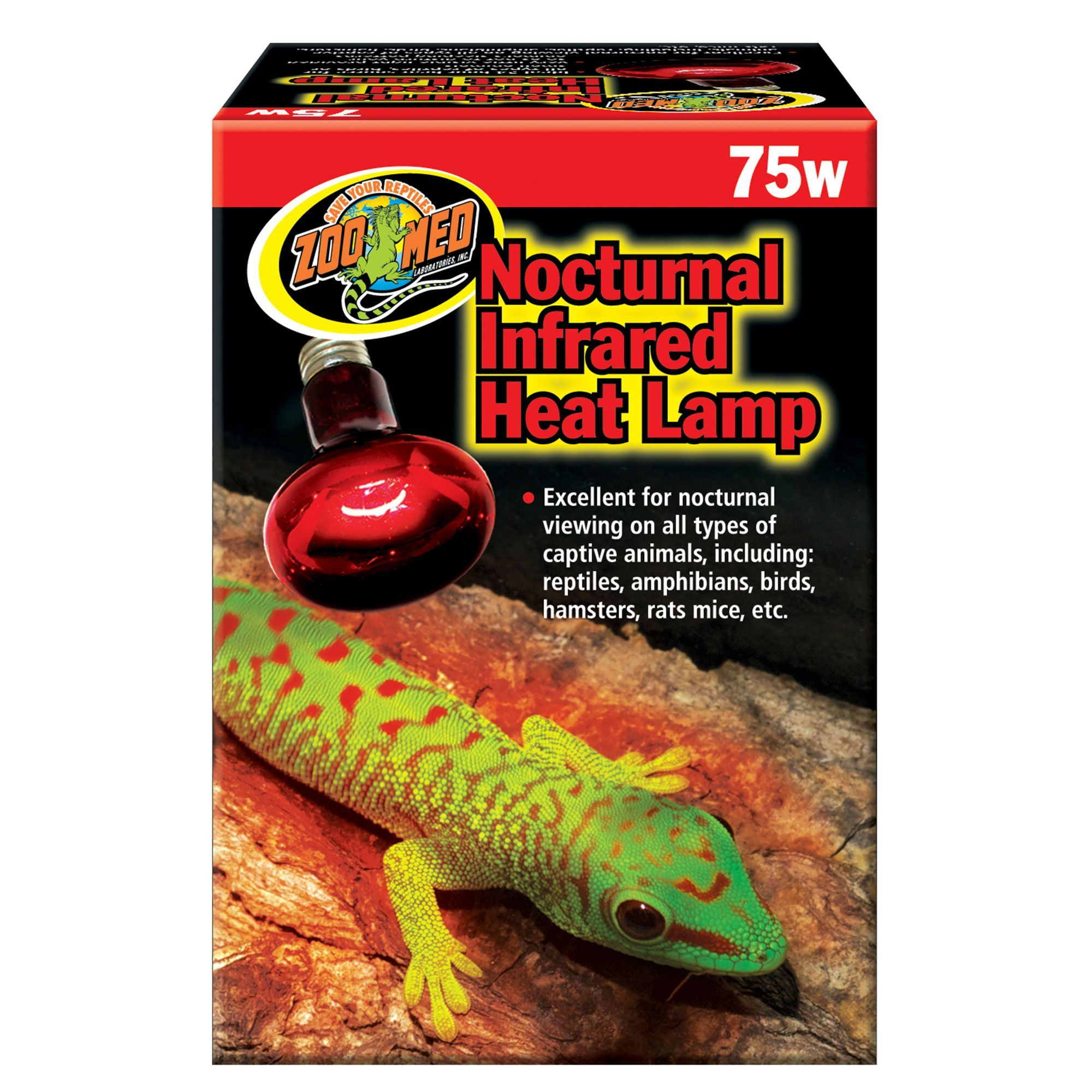 Zoo Med Nocturnal Reptile Infrared Heat Lamp size 75W