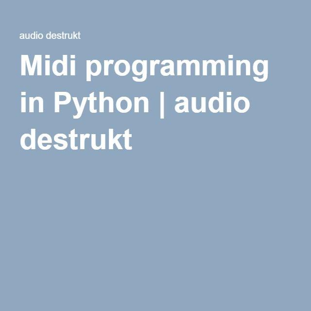 Midi Programming In Python