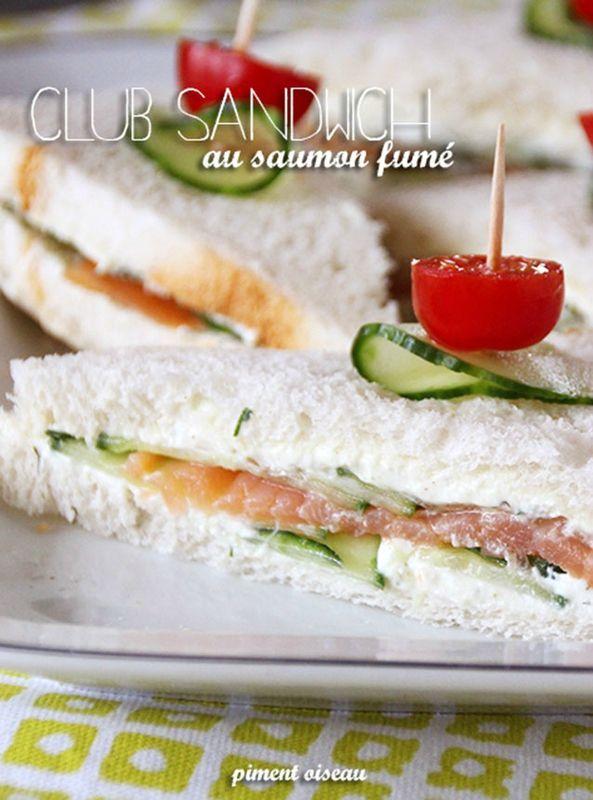 Repas ou bouchées pour l'apéro: club sandwich au saumon fumé - Smoked salmon sandwich ...
