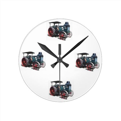Vintage Wedding Gifts: Rumely Oil Pull Tractor. Round Wallclock
