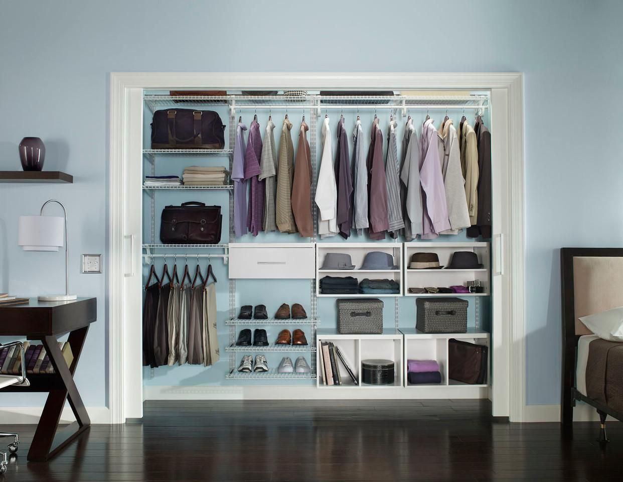 Even Your Man Needs A Nice Closet, Try ClosetMaid ShelfTrack Elite.