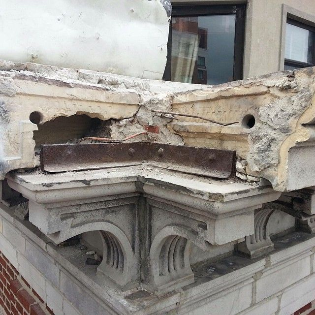 Cornice probe at 514 West End Ave.