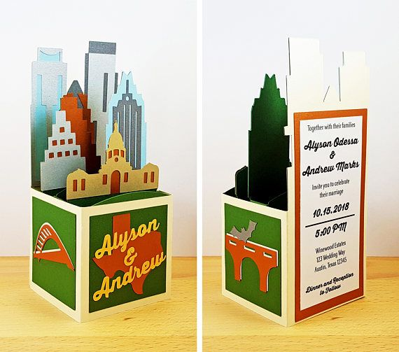 Pop Up Austin Skyline Wedding Invitation Austin Texas Capitol