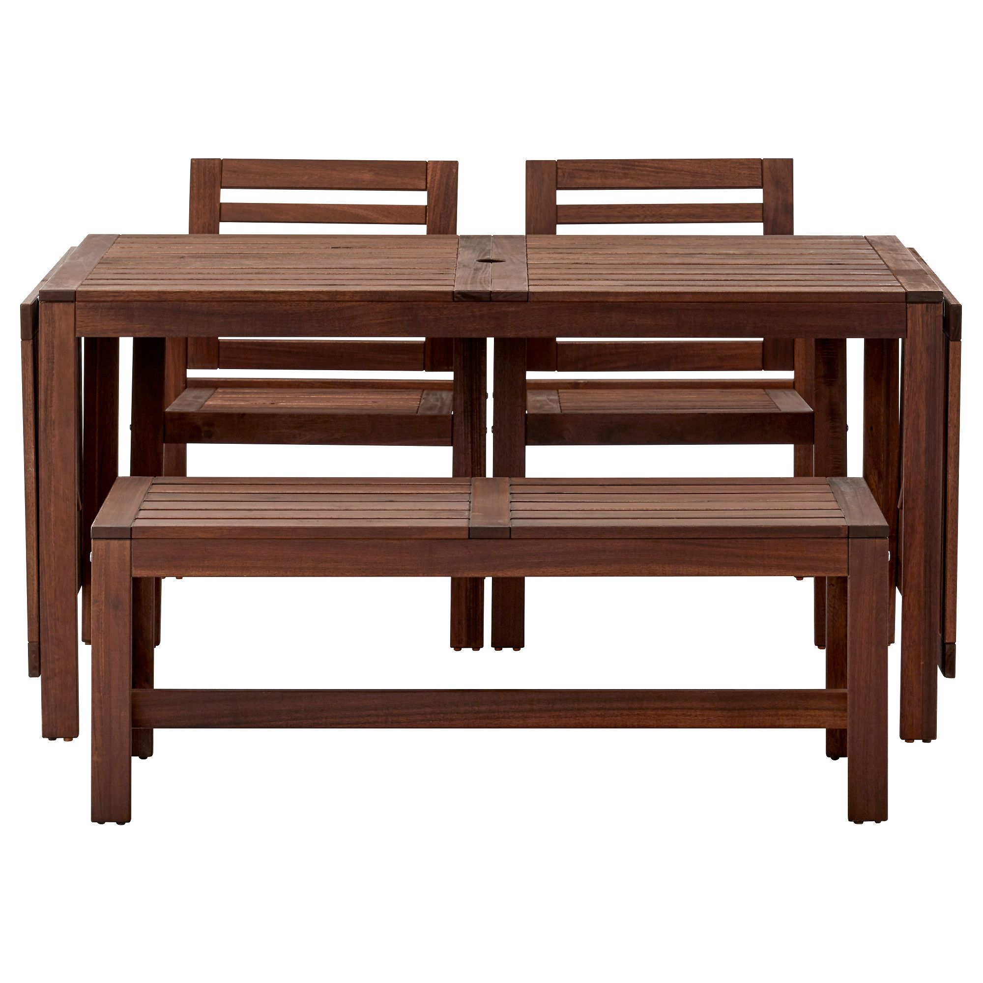 ÄPPLARÖ, Tisch+2 Armlehnstühle+Bank/außen, Für Draußen Braun Las.