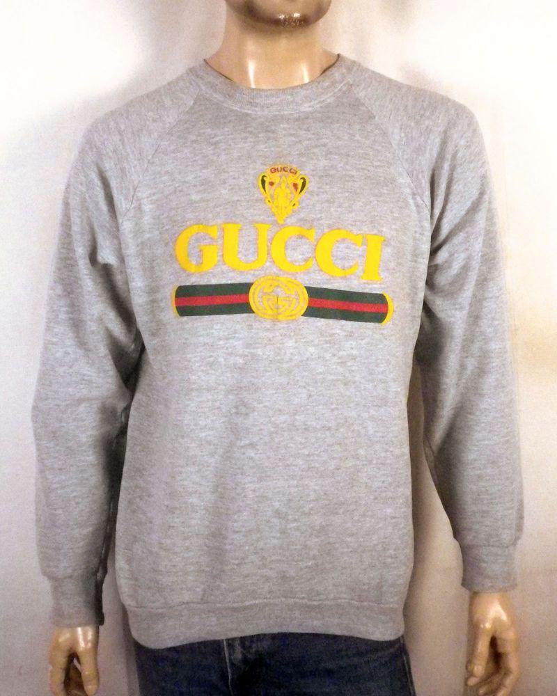 41055bce8 vtg 80s 90s Bootleg Gucci Sweatshirt puffy logo raglan heather gray hip hop  XL