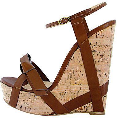 cc96a8d194f Christian Louboutin 'Miss Cristo' Brown Leather Strap Cork Wedge ...
