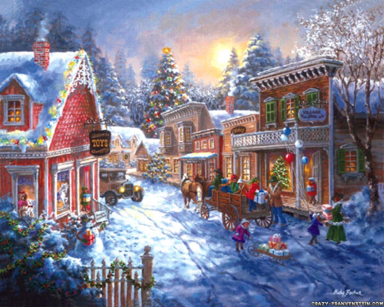 christmas scenes   ... Wallpaper Christmas Town Scene, Desktop Wallpaper Christmas Town Scene