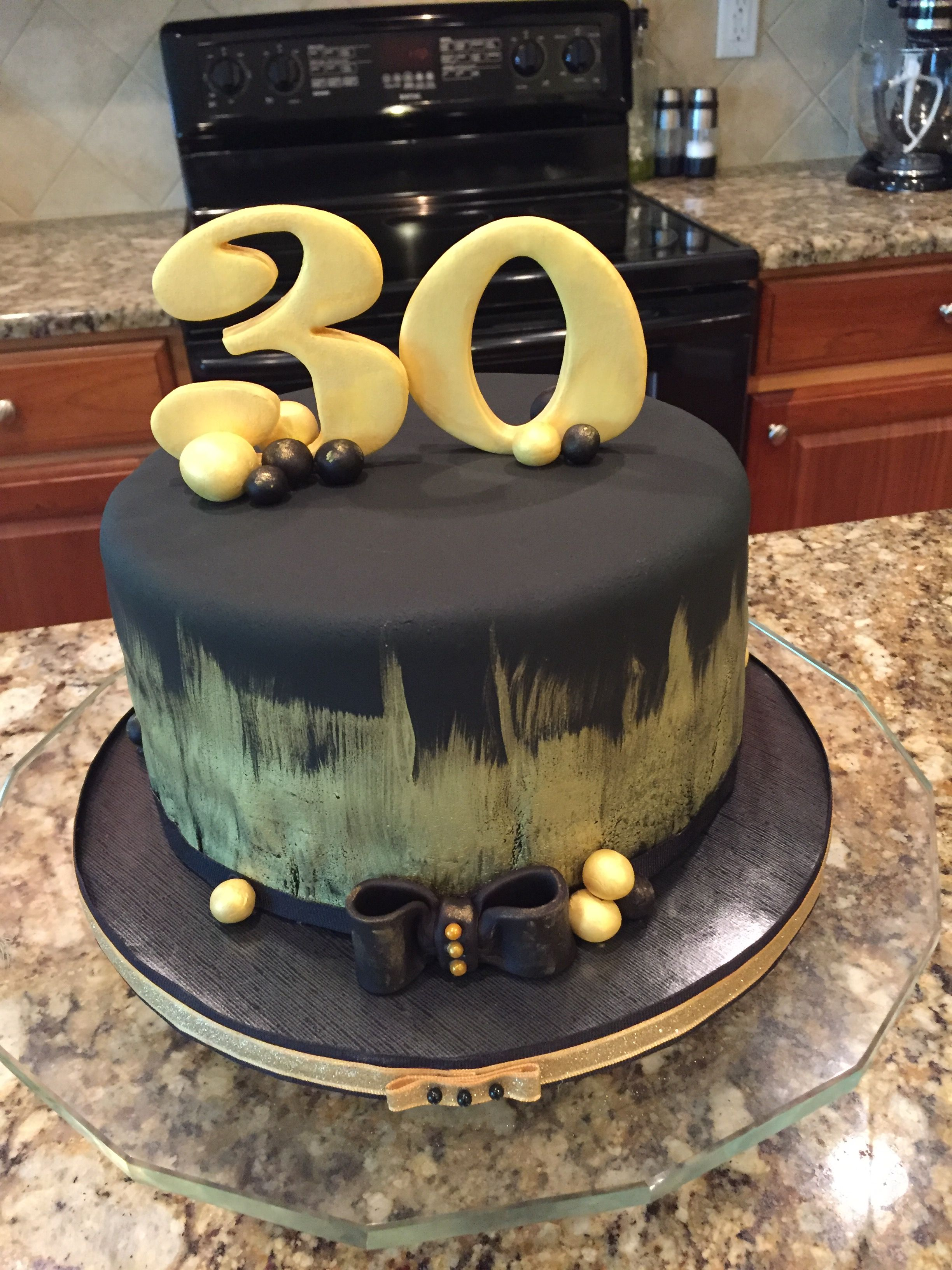 Painted In Edible Gold 30th Birthday Cake Dark Chocolate With Peanut Butter And Oreo Filling