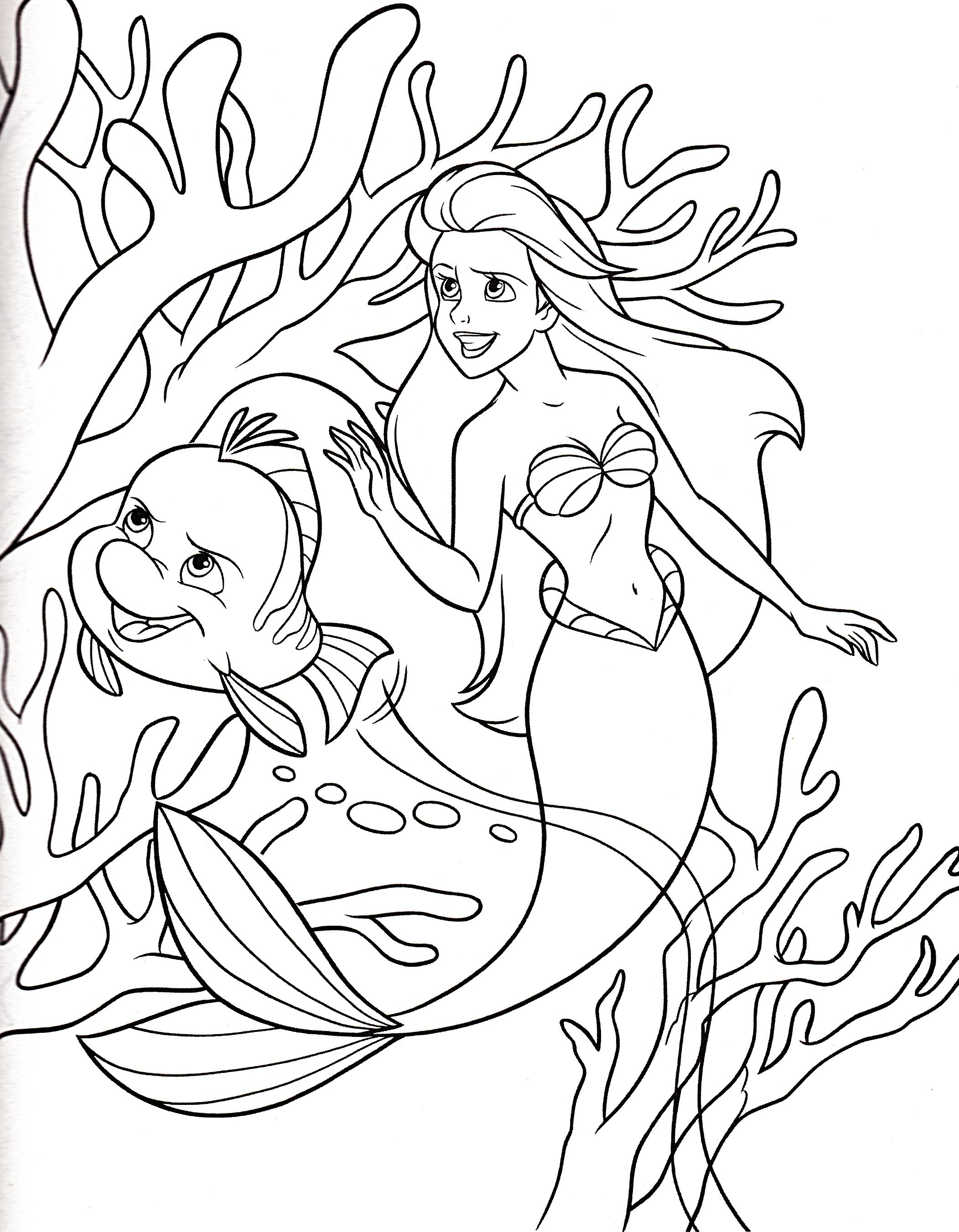 Princess Ariel And Small Fish Coloring Pages Coloring Designs