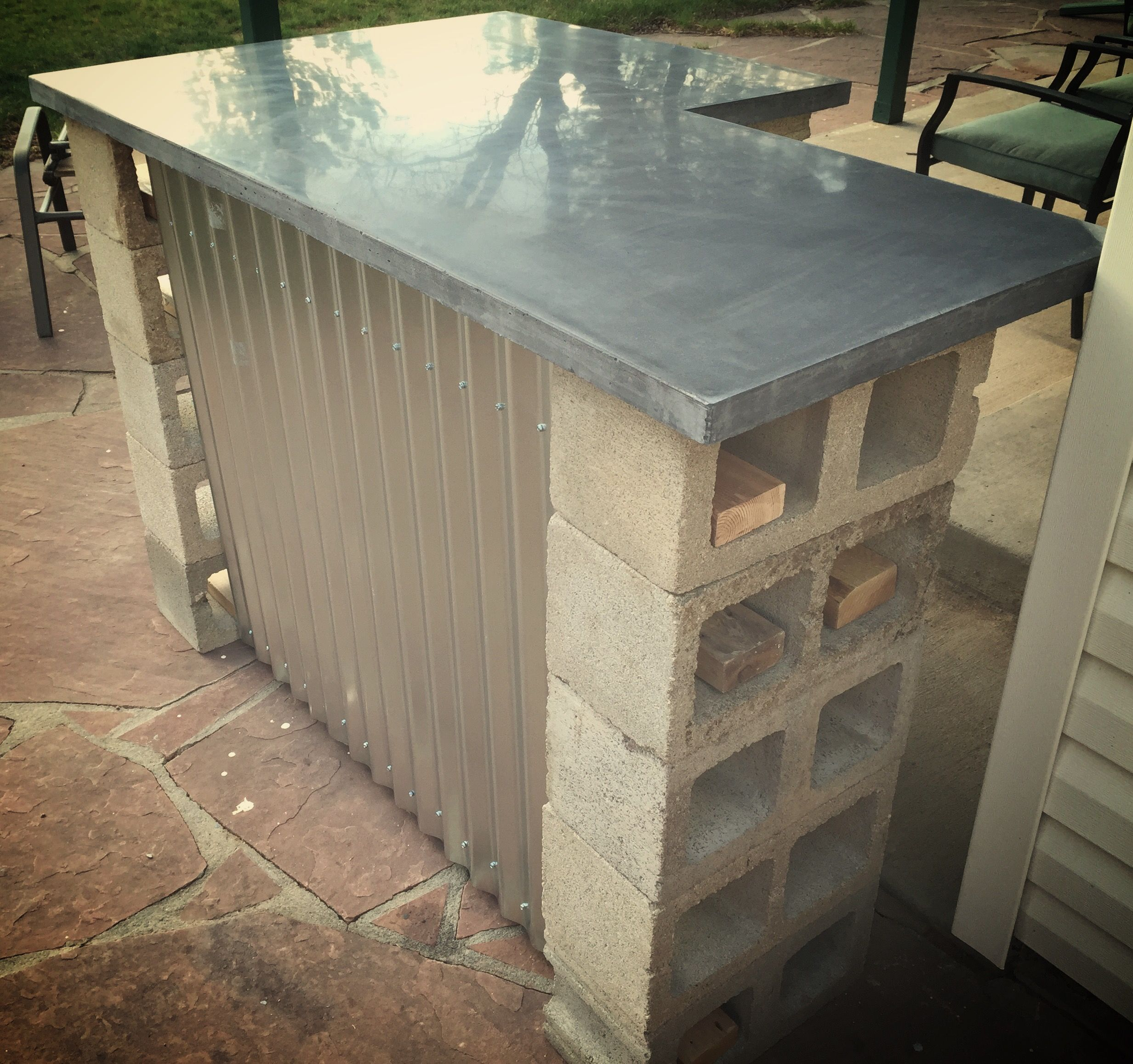 Truly Rustic Outdoor Bar Custom Grey Concrete Countertop With Cinder Blocks For Support Some 2x4s Fo Diy Outdoor Bar Outdoor Patio Bar Cinder Block Furniture