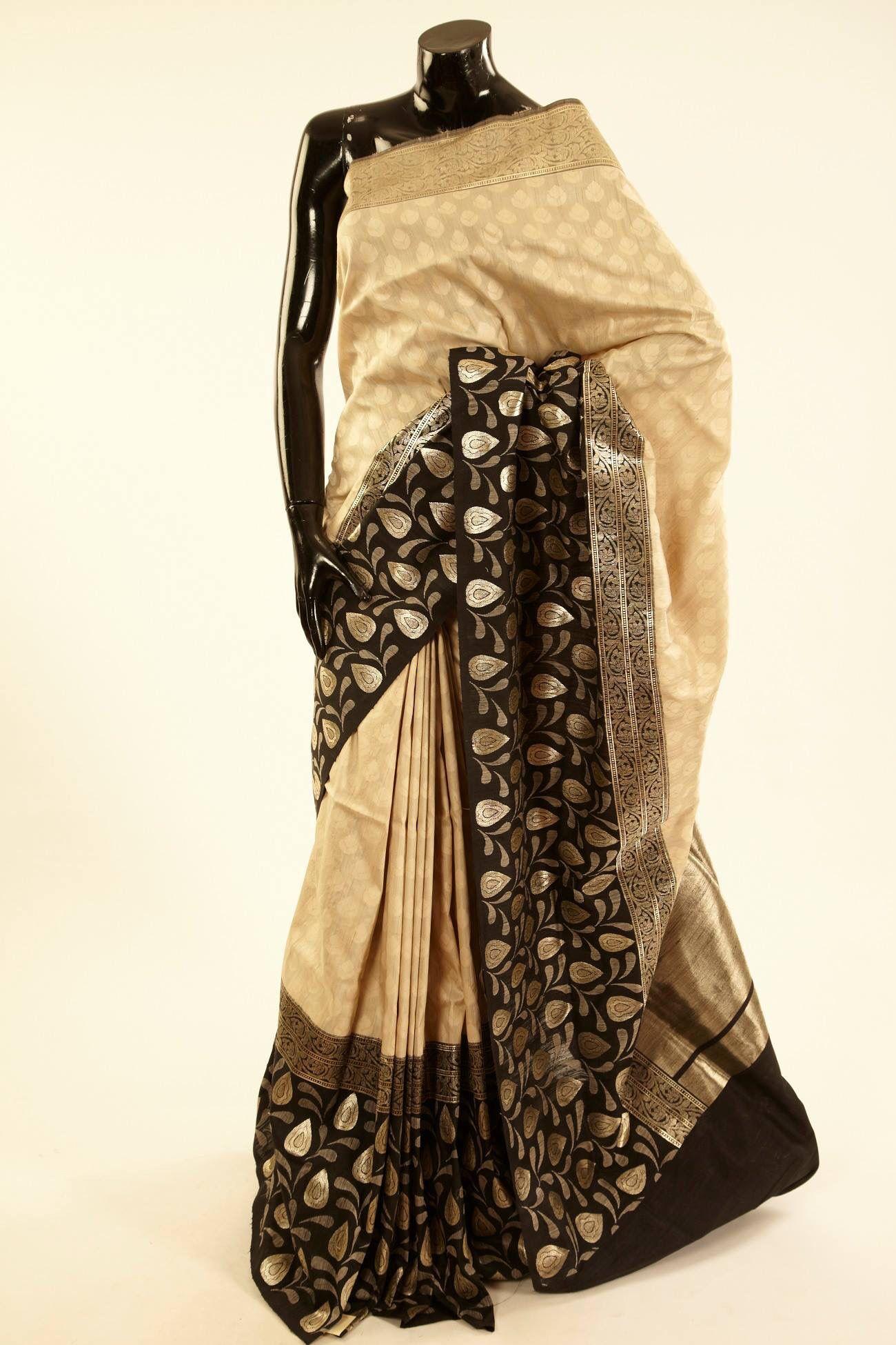 Monochromatic banarasi silk saree clothes for women