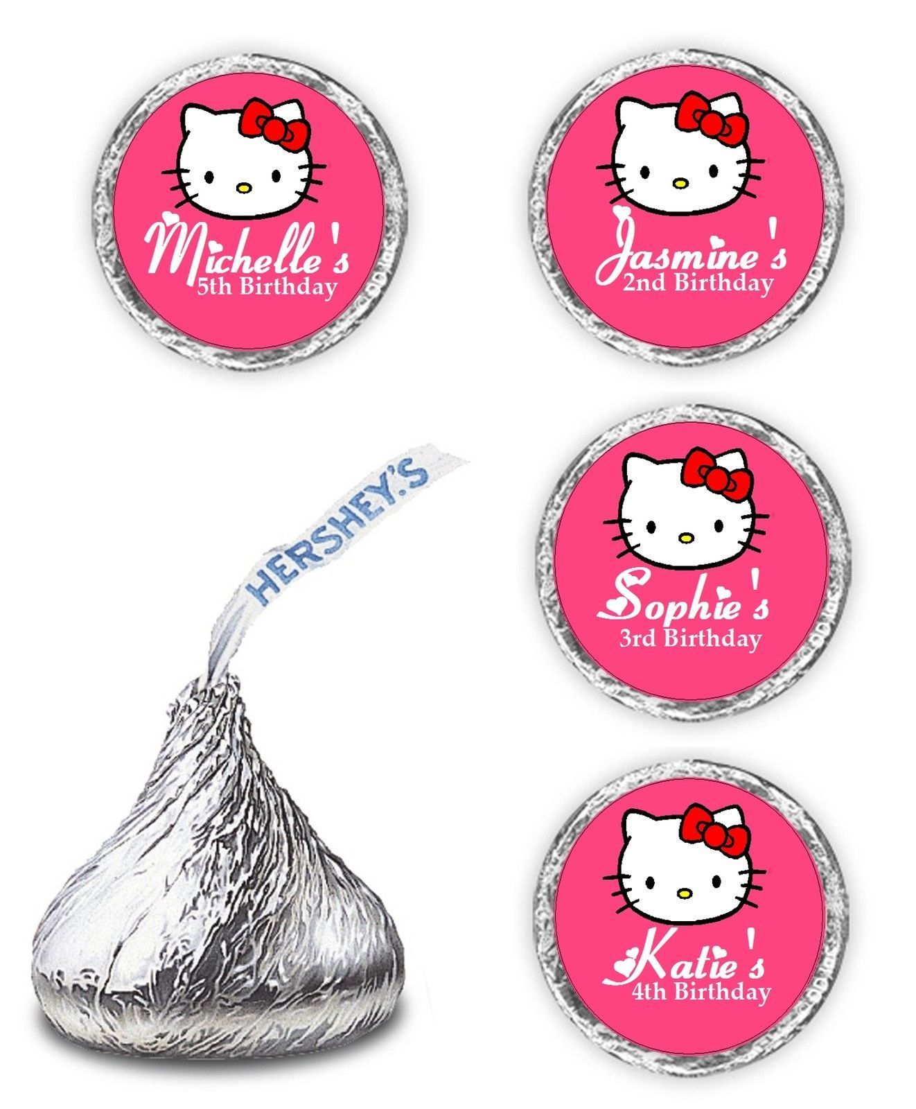 Hello Kitty Birthday Party Favor Personalized Hershey Kiss Labels Stickers