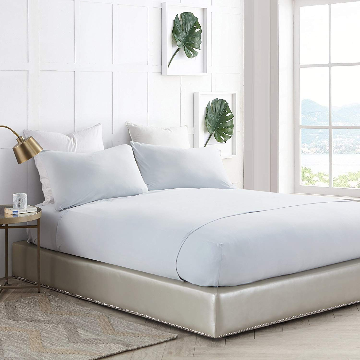 Byourbed Bare Bottom Sheets All Season King Bedding Glacier Gray You Can Get More Details By Clicking On The Image Thi Grey Sheets Bed Material Bed