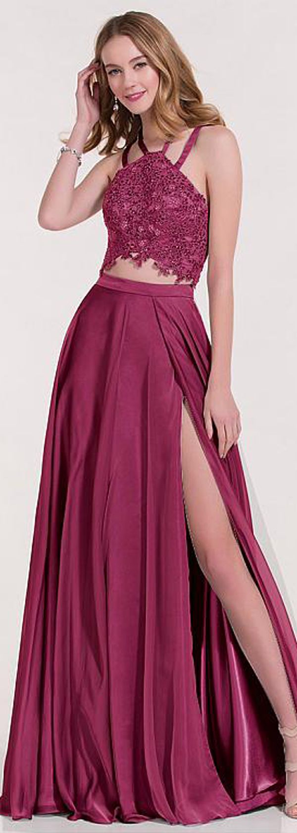 Honorable Silk-like Chiffon Halter Neckline Two-piece A-line Prom ...