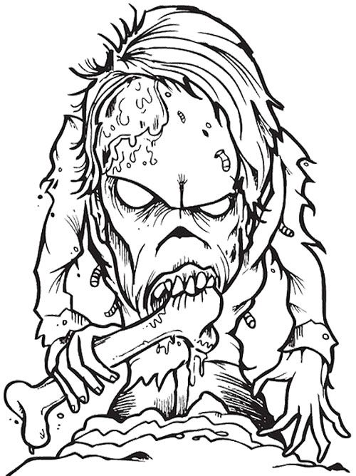 Zombie Creepy Coloring Page
